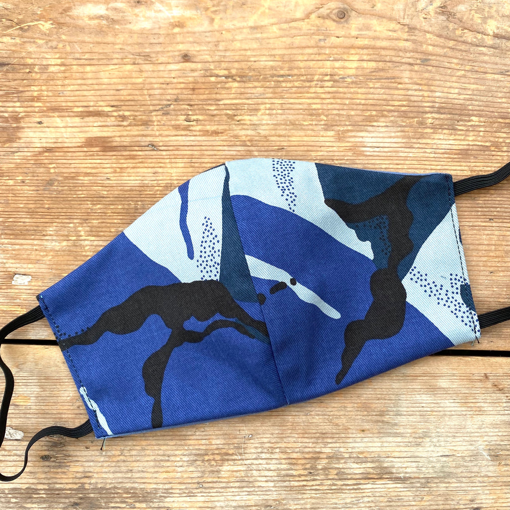 Blue Camo & Grey Fabric Face Mask | Medium | Limited Edition
