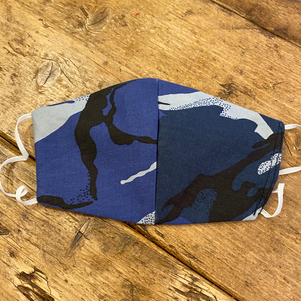 Blue Camouflage Fabric Face Mask | Small, Medium & Large