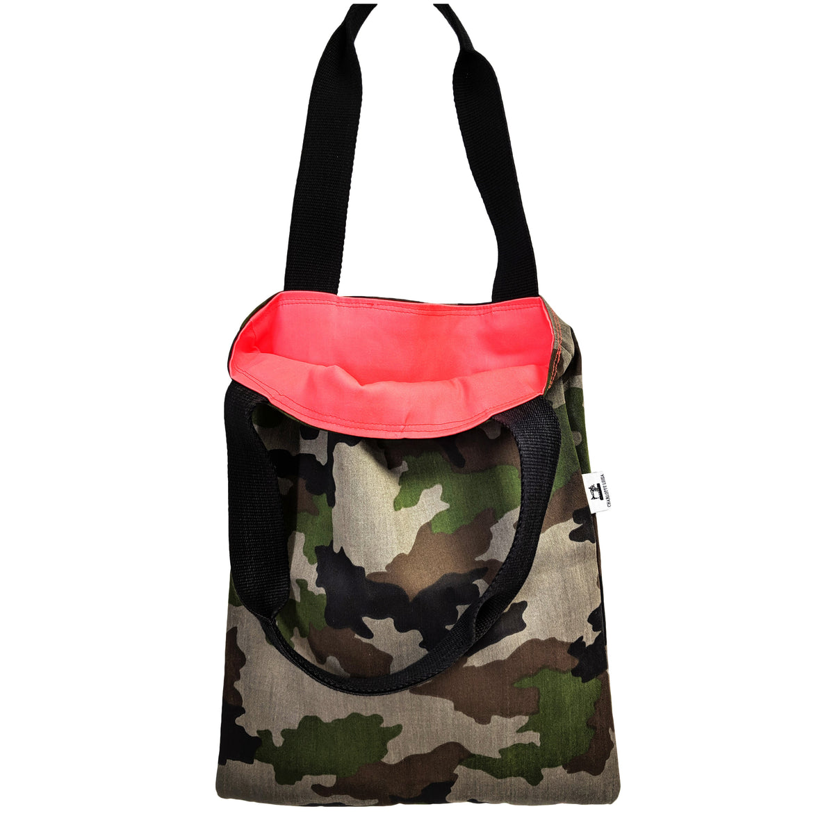 camouflage tote bag reusable shopper coral lining