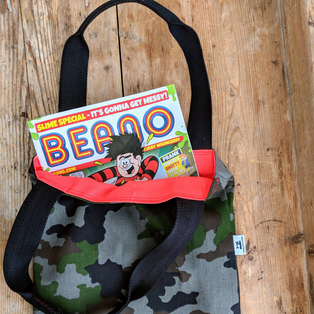 camouflage tote bag reusable shopper Beano