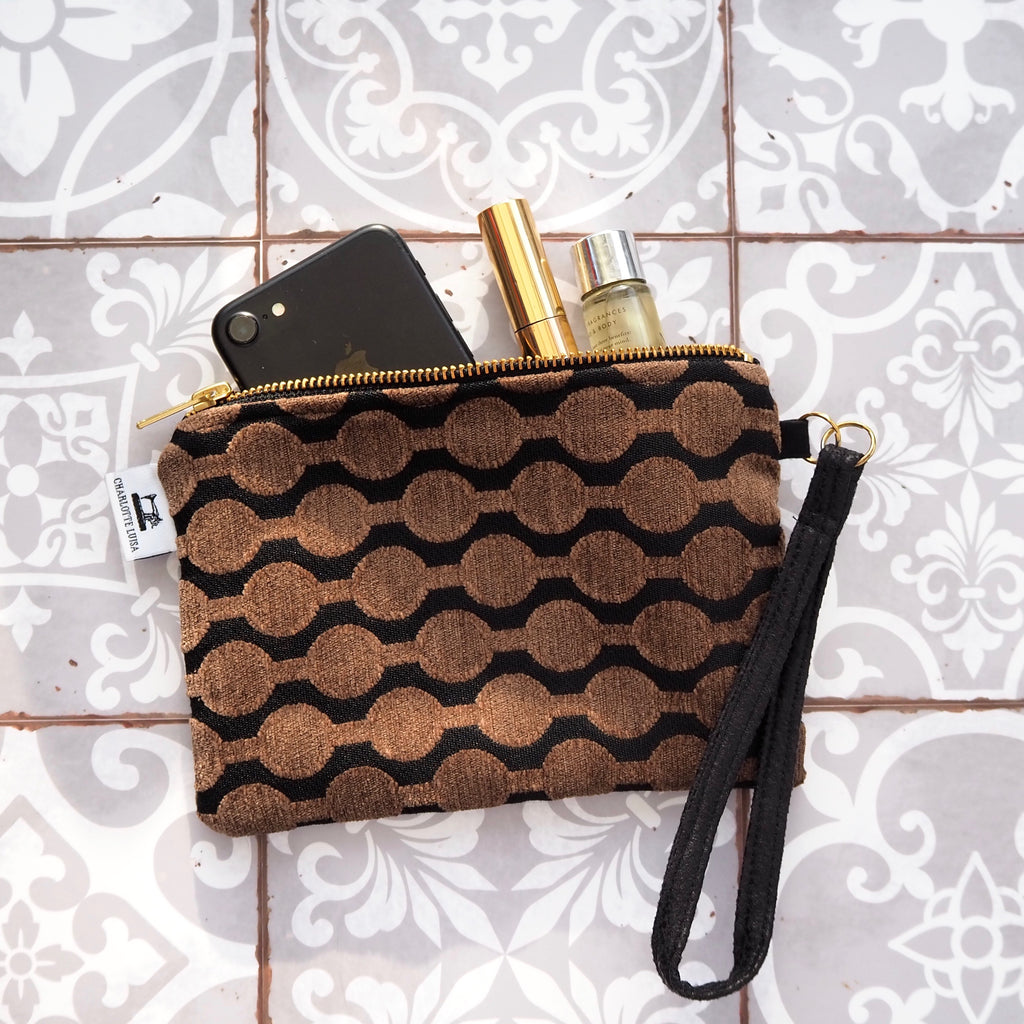 Wristlet Purse | Black & Chocolate Geometric Black Lining