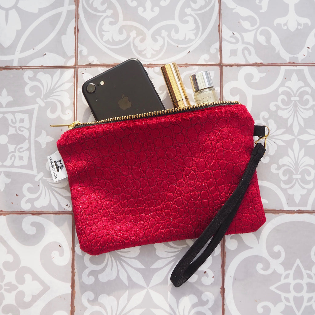 Wristlet Purse | Claret Velvet with Black Lining