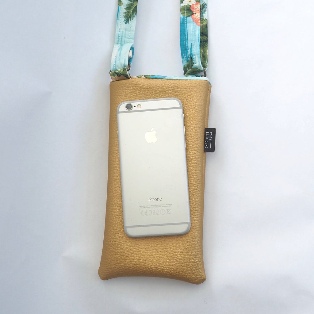 Gold Faux Leather Phone Pouch