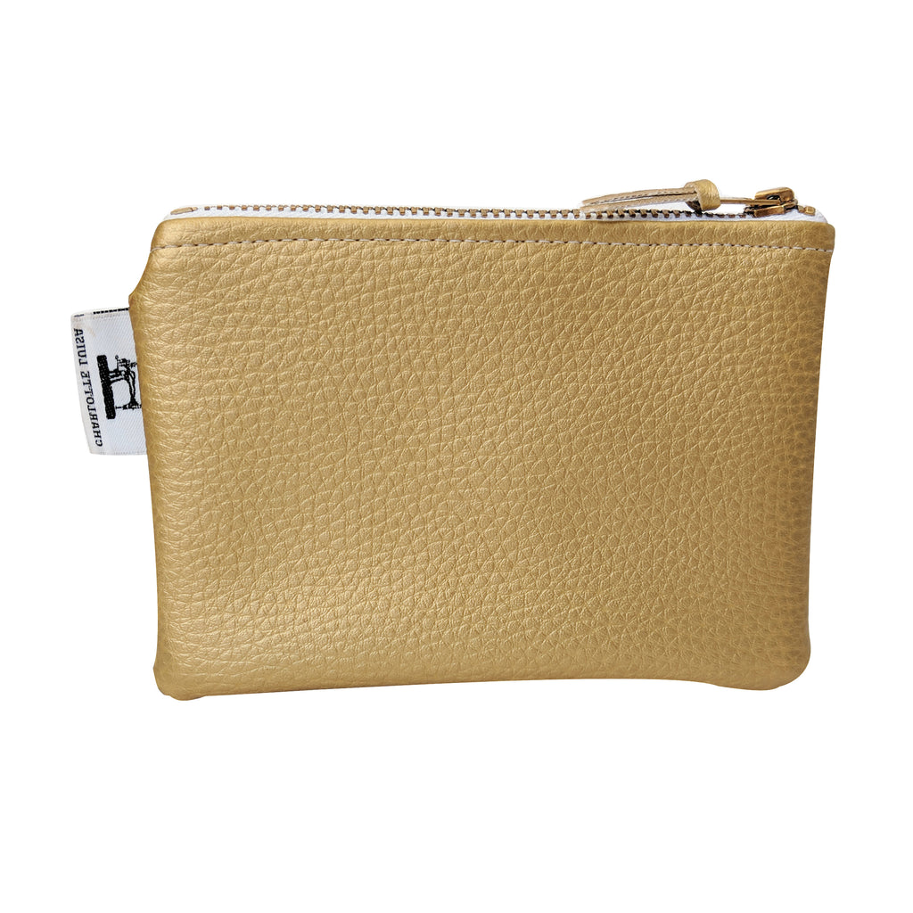 gold zip purse