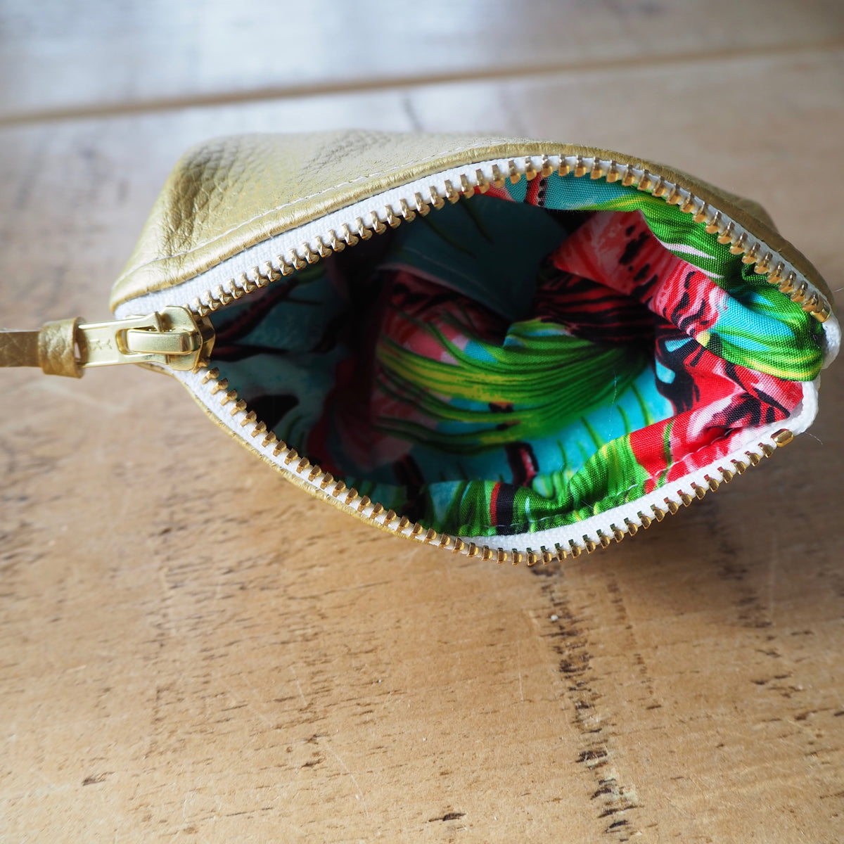 Gold Zip Coin Purse with Flamingo Print Lining
