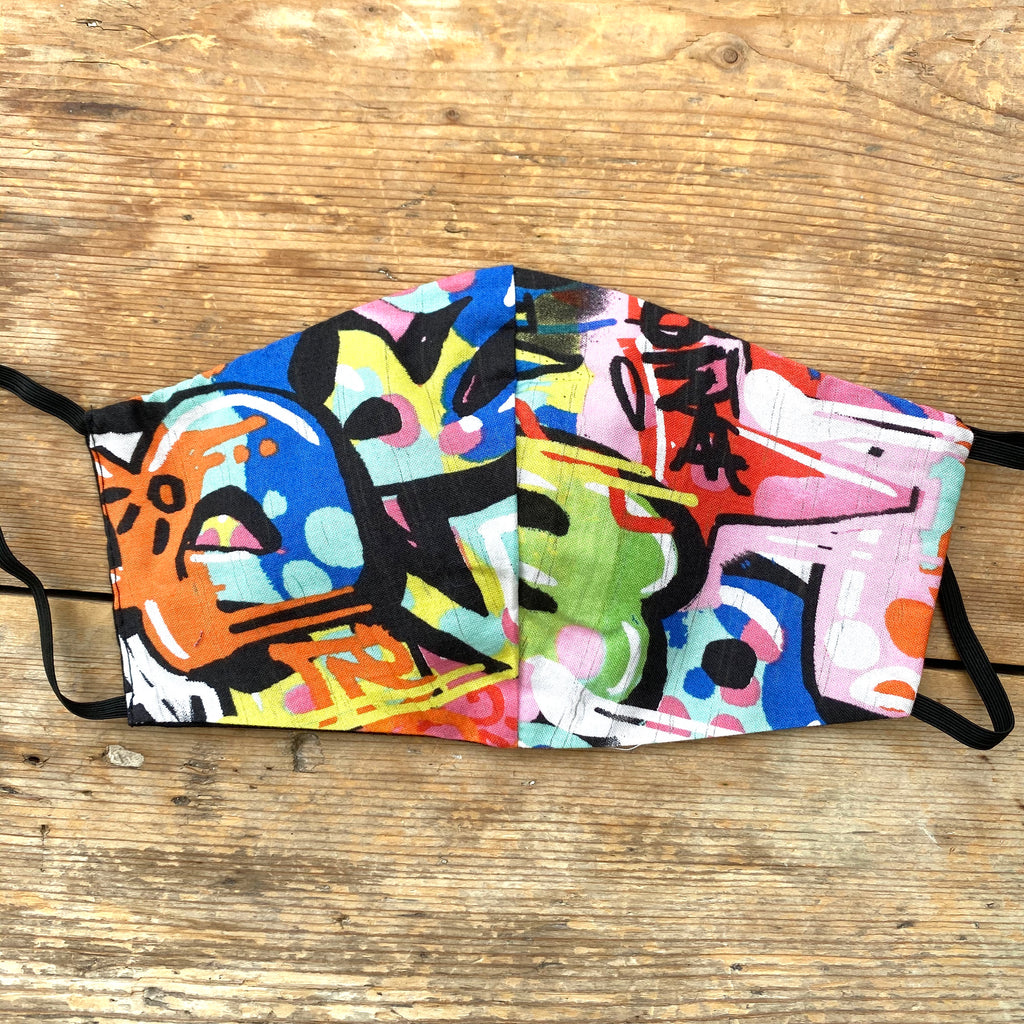 Graffiti Print & Black Face Mask | Large | Limited Edition - LAST ONE!
