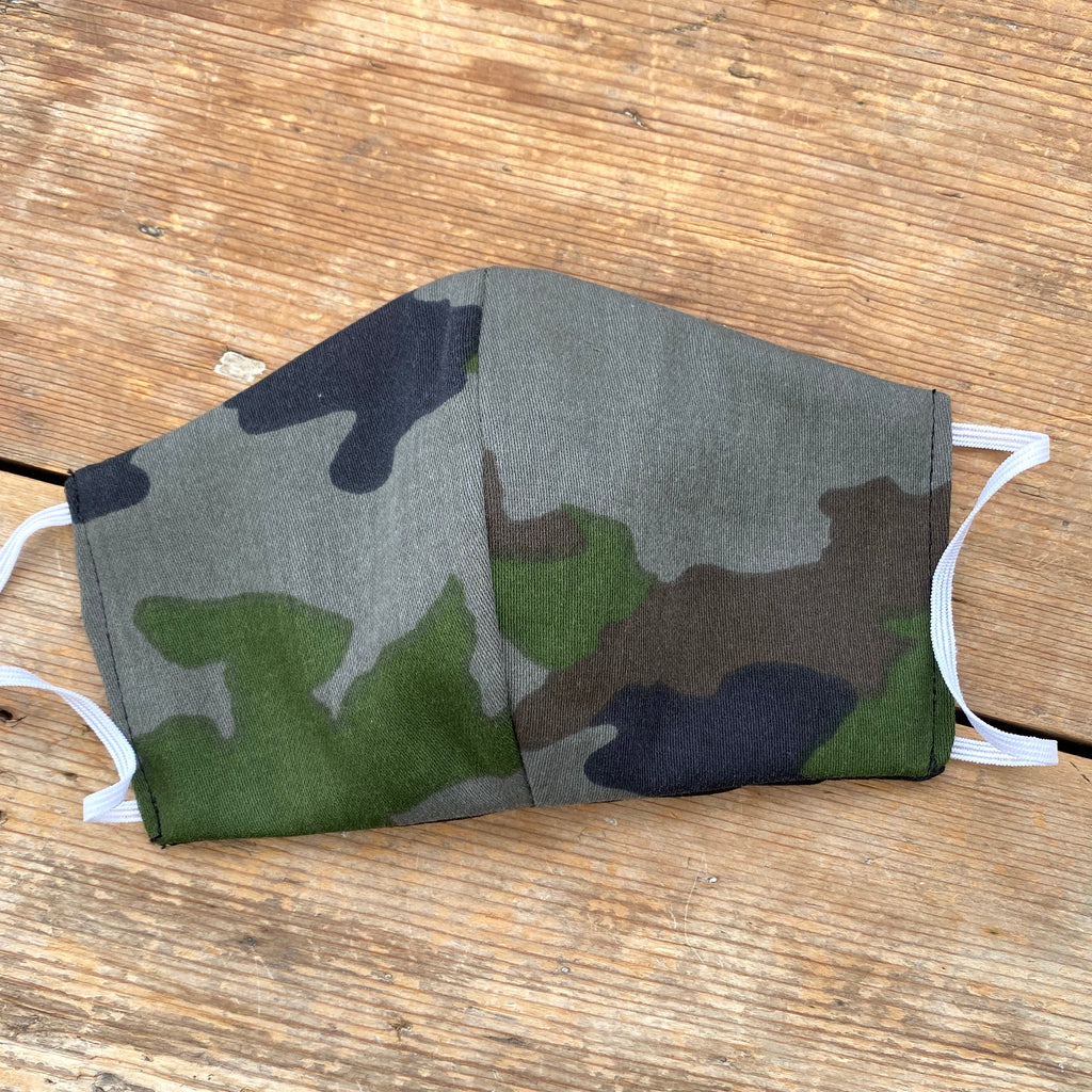 Green Camo & Black Fabric Face Mask | Small | Limited Edition