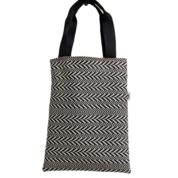 Navy Herringbone Tote Bag with Coral Lining
