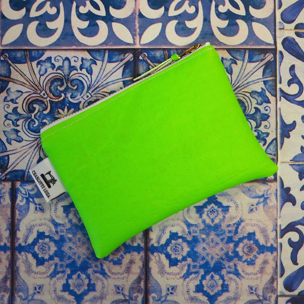 Neon Green Zip Purse - Rescued Faux Leather