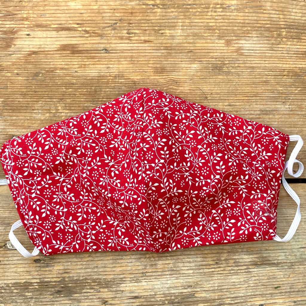 Red Ditsy Print Washable Face Mask | Small, Medium & Large