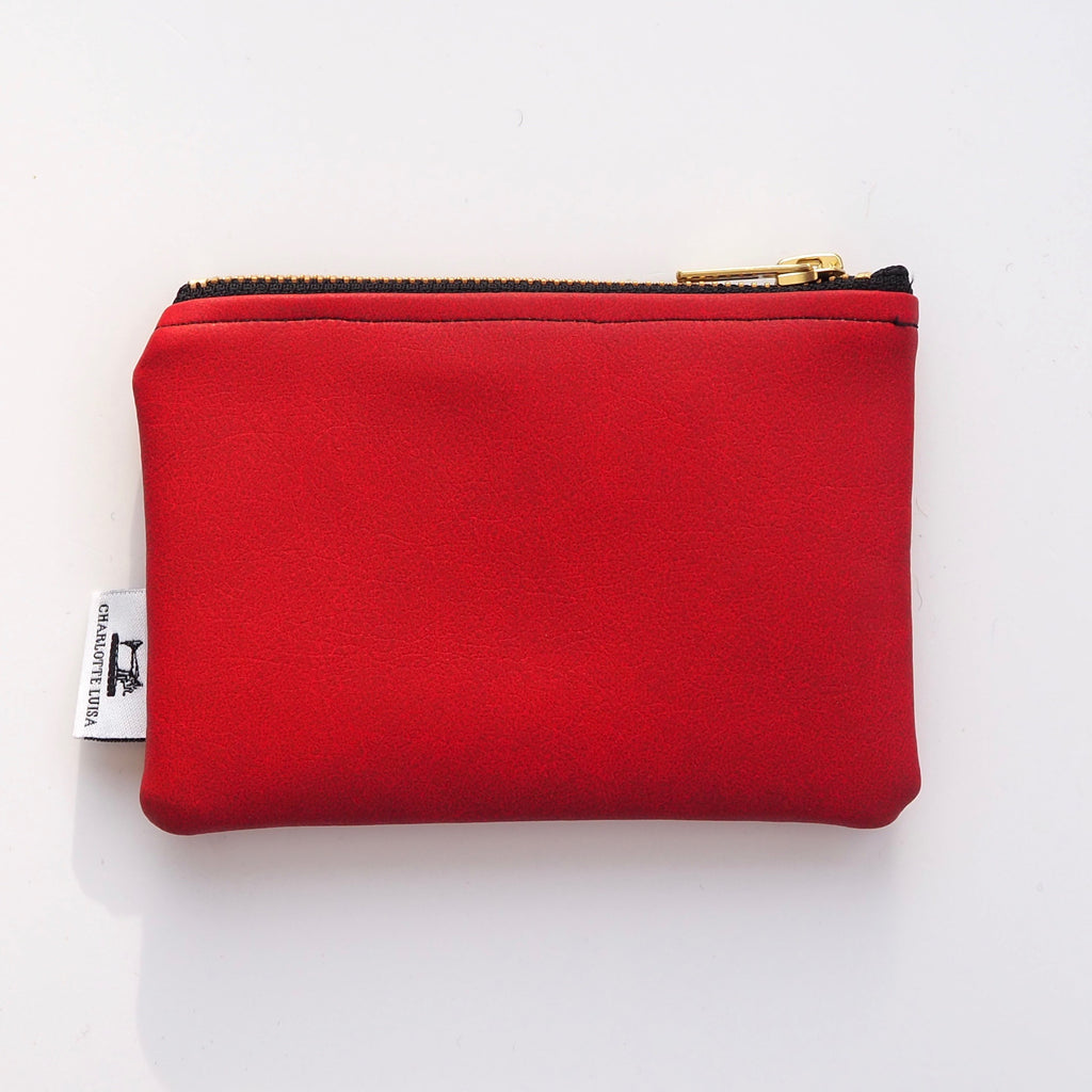Zip Purse | Red Faux Leather, Gold Lining