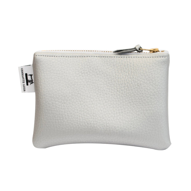 silver zip coin purse