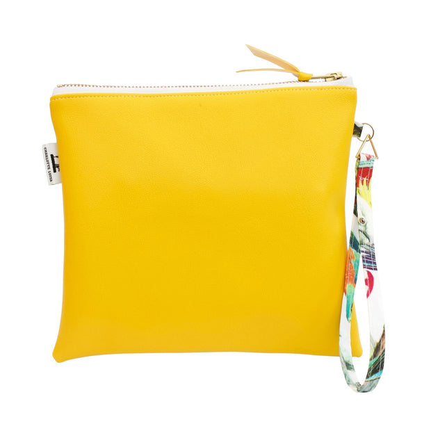 Yellow Clutch Bag in Faux Leather with Water Resistant Lining and Wrist Strap