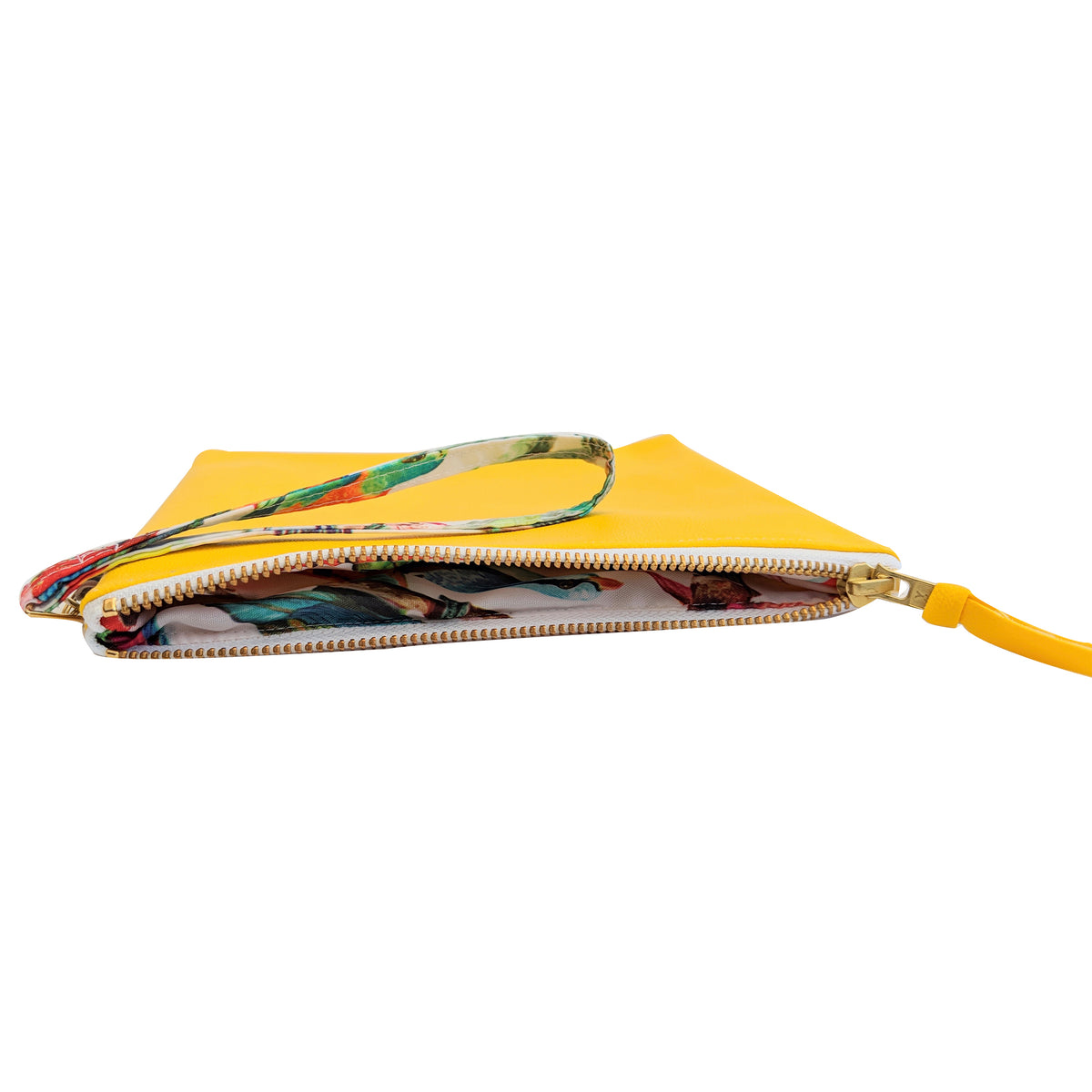 yellow clutch bag side view