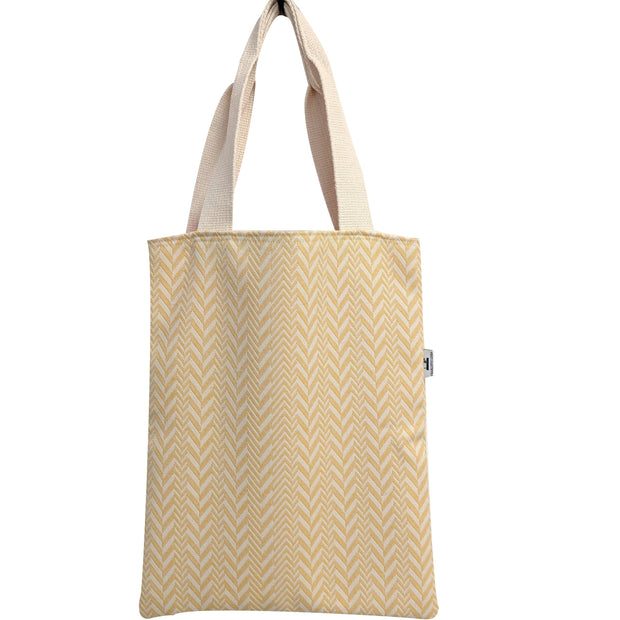 yellow herringbone tote bag