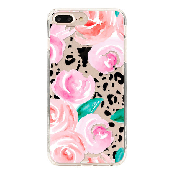 Pink roses floral on a leopard skin Beautiful & Protective Premium phone cases for Apple iPhone, Samsung Galaxy and more.
