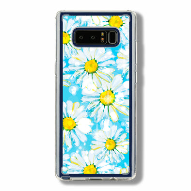Daisies with blue background and shining sparkle Beautiful & Protective Premium phone cases for Apple iPhone, Samsung Galaxy and more.