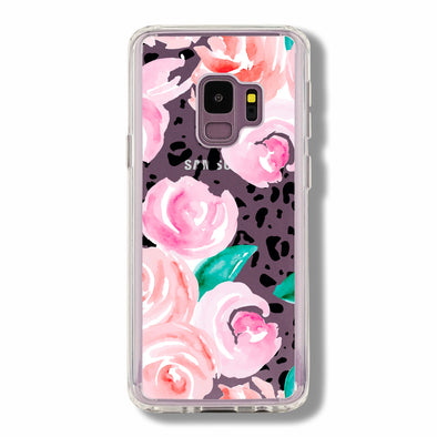 Pink roses floral on a leopard skin - Samsung Galaxy cases Beautiful & Protective Premium phone cases for Apple iPhone, Samsung Galaxy and more.