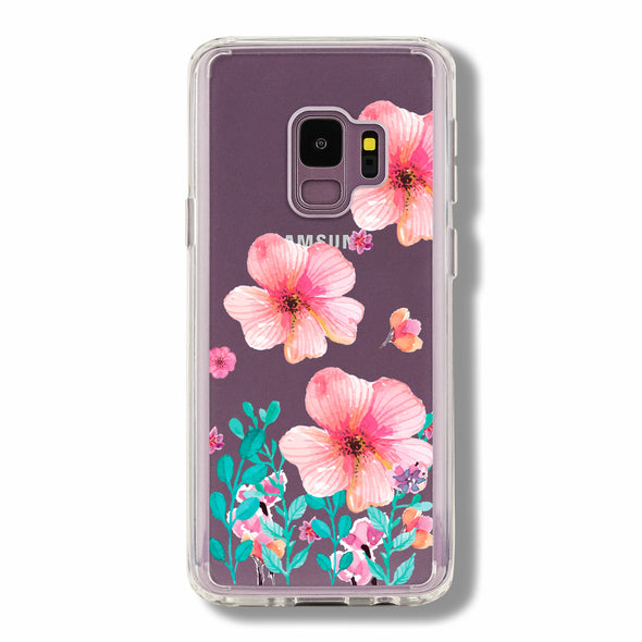 Spring blush pink floral hand-painted watercolor with tiffany green garden leaves - Samsung Galaxy cases Beautiful & Protective Premium phone cases for Apple iPhone, Samsung Galaxy and more.