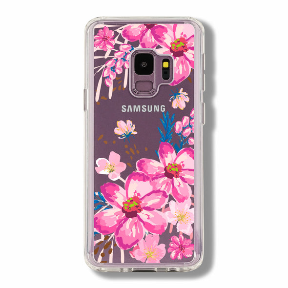 Pink floral with blue leaves - Samsung Galaxy case Beautiful & Protective Premium phone cases for Apple iPhone, Samsung Galaxy and more.