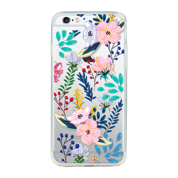 Spring colorful hand-painted florals and cluster 3 Beautiful & Protective Premium phone cases for Apple iPhone, Samsung Galaxy and more.
