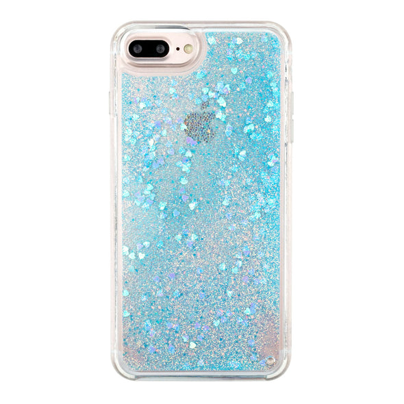 BLUE HEART - Glitter Waterfall iPhone Case Beautiful & Protective Premium phone cases for Apple iPhone, Samsung Galaxy and more.