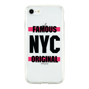 Famous NYC with 2 Neo Pink Stripes Beautiful & Protective Premium phone cases for Apple iPhone, Samsung Galaxy and more.
