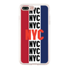 NYC Multi Text Blue White Red Background Beautiful & Protective Premium phone cases for Apple iPhone, Samsung Galaxy and more.