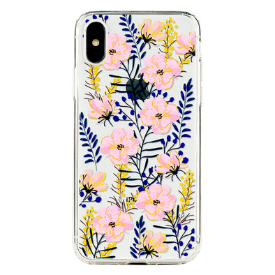 Pink and blue floral pattern Beautiful & Protective Premium phone cases for Apple iPhone, Samsung Galaxy and more.