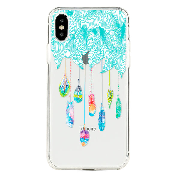 Feathers rainbow with soft blue flower clouds Beautiful & Protective Premium phone cases for Apple iPhone, Samsung Galaxy and more.