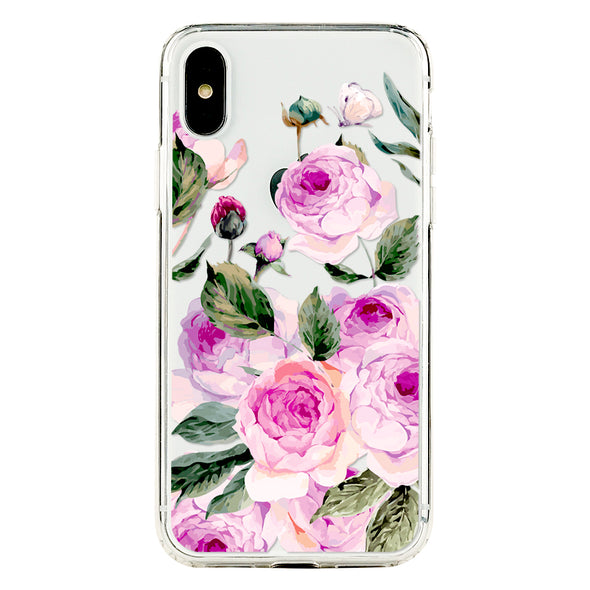 Romantic blossom pink roses with green leaves Beautiful & Protective Premium phone cases for Apple iPhone, Samsung Galaxy and more.