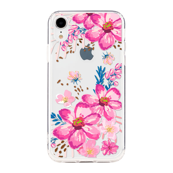 Pink floral with blue leaves Beautiful & Protective Premium phone cases for Apple iPhone, Samsung Galaxy and more.