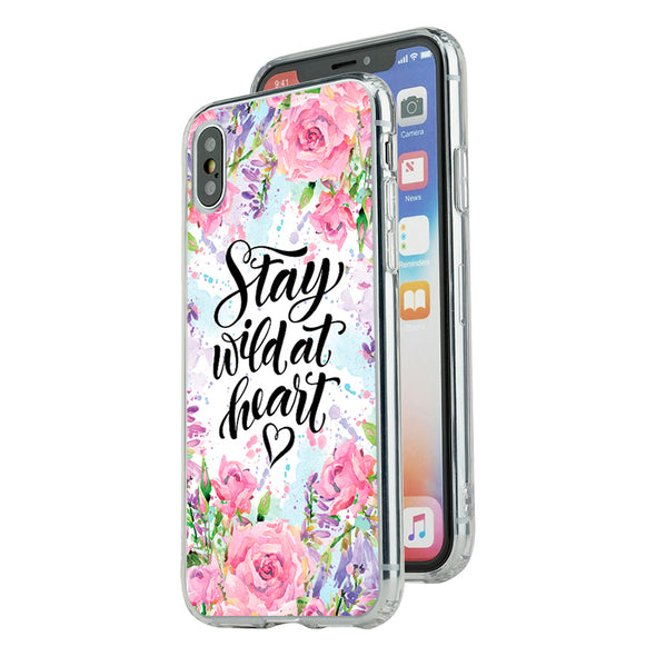 Stay wild at heart floral Beautiful & Protective Premium phone cases for Apple iPhone, Samsung Galaxy and more.