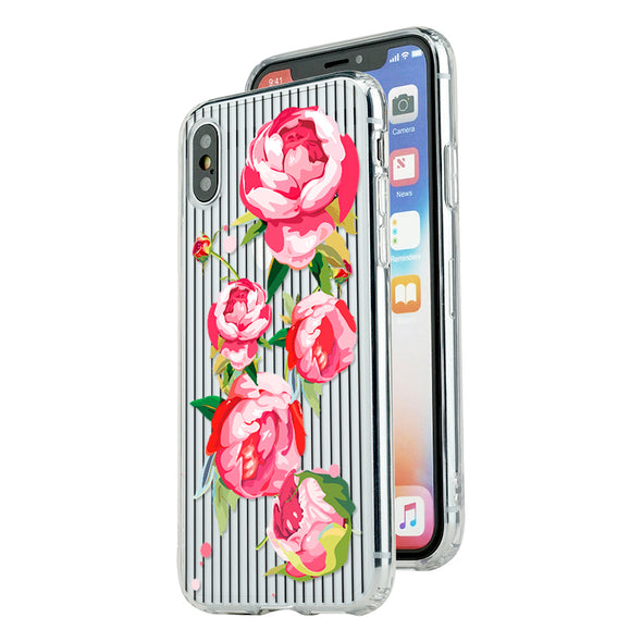 Red blossom roses with black strips Beautiful & Protective Premium phone cases for Apple iPhone, Samsung Galaxy and more.