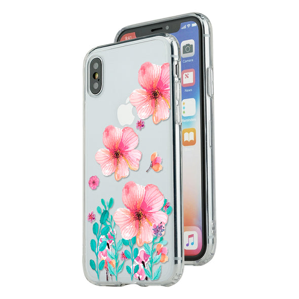 Spring blush pink floral hand-painted watercolor with tiffany green garden leaves Beautiful & Protective Premium phone cases for Apple iPhone, Samsung Galaxy and more.