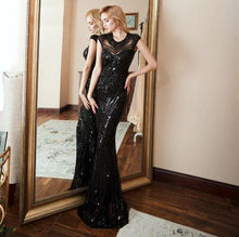 Elegant Long black Sequin Evening Dress