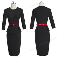 Nice-forever Vintage Elegant Wear to Work with Belt Peplum vestidos