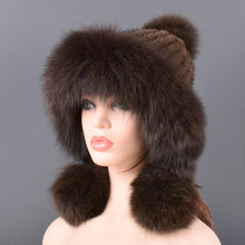 Bomber Hat natural Mink Fur for women Knitted lining hand-woven