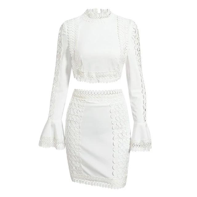 Glamaker Lace white bodycon mini dress,  two piece suit flare winter sleeve