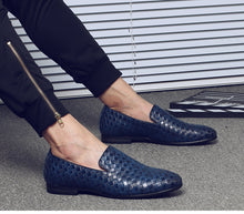 Men Braid Leather Casual Driving Oxfords Shoes