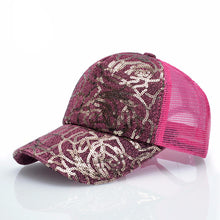 Womens Sequins Flashes 5 Panel Trucker Cap Hip Hop