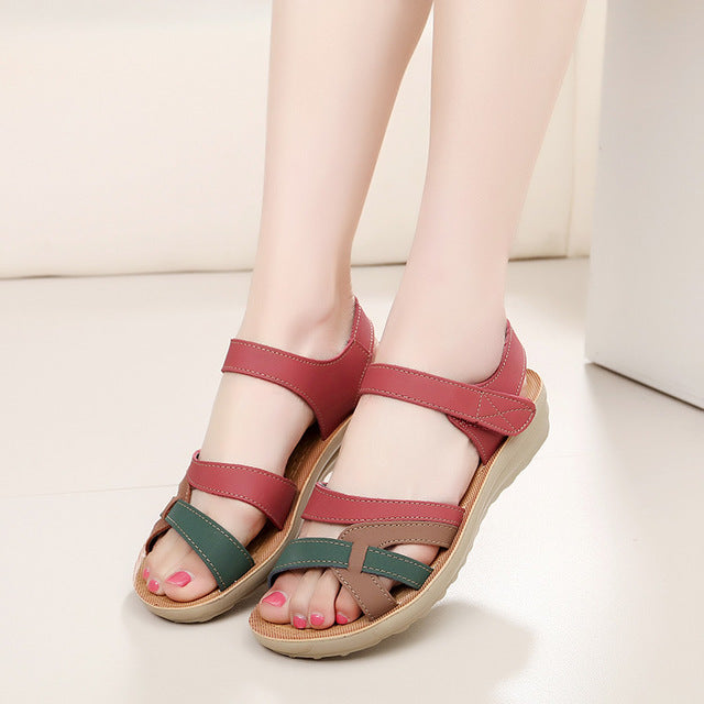 soft leather large size flat sandals