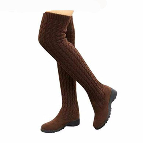2017 Fashion Knitted Women Knee High Boots