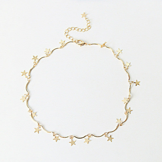Chain Tiny Star Choker Necklace for Women
