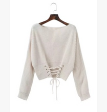 New lace-up high waist long sleeve pullover sweater