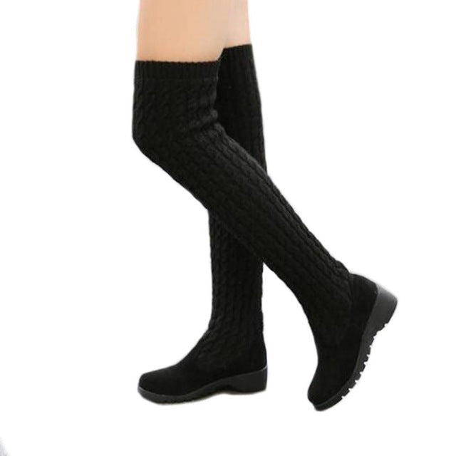 Fashion Knitted Women Knee High Boots