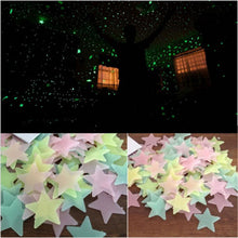 50pcs 3D Stars Glow In The Dark Wall Stickers Luminous Fluorescent
