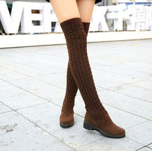 2018 Fashion Knitted Women Knee High Boots