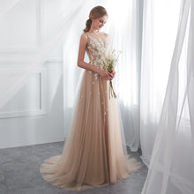 Champagne Prom Dresses Walk Beside You O-neck Transparent Lace