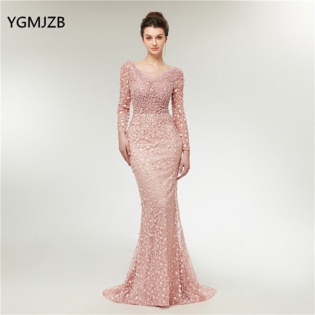Luxury Evening Dresses 2019 Mermaid Long Sleeves Pearls Lace Embroidery Pink Women